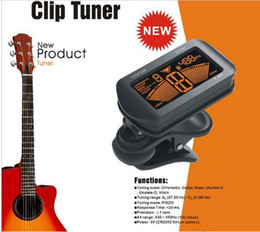 5 pieces lot Clip-on Guitar Tuner Exquisite LCD Digital Bass Violin Ukulele Chromatic Guitar Tuner Retail Package