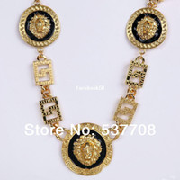 Wholesale New Hip Hop Men Vintage Chains Jewelry K Gold Medusa Lion Head Red White Black Long Pendant Necklace Women Body Chain