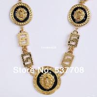 Wholesale New Hip Hop Men Vintage Chains Jewelry K Gold Medusa Lion Head Red White Black Long Pendant Necklace Women Body Chain
