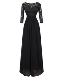 Wholesale 2015 Fall Black Sleeves Long Lace Evening Prom Gown Prom Dress Sheer Dress