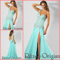 Cheap Reference Images aqua prom dresses Best One-Shoulder Chiffon luxury prom dresses