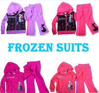 Wholesale 2014 Spring New Spring Fall Winter Frozen Set Kids Clothes Hoodies Coat Pants Tracksuit Outfit Children Child Sport Suit D102