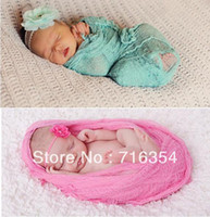 Wholesale Newborn Baby Photography Hand Dyed Strong Cheesecloth Wrap Photo Props Wrap Full Set with Headband cmx90cm Colors