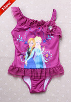 Girl One-piece Fit for 2-7 year old New Girls Children Frozen Elsa Piece Swimwear 5 pcs lot Girls Baby Summer Cartoon Sloping Shoulder Dress Swimsuit Kids Swimwear