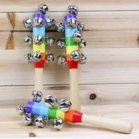 Wooden bell rattles - Hot Sale Cartoon Baby Rattle Rainbow Rattles With Bell Wooden Toys Orff Instruments Educational Toy Pieces