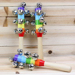 Wholesale - Hot Sale Cartoon Baby Rattle Rainbow Rattles With Bell Wooden Toys Orff Instruments Educational Toy 10 Pieces   Lot