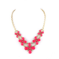 Wholesale New Charming Design Candy Color Flower Style Imitation Gemstone Statemend Choker Necklace for women