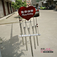 Wholesale hot F2111 AM038 wind chimes Fen head happy birthday WordArt wood plus alloy chimes