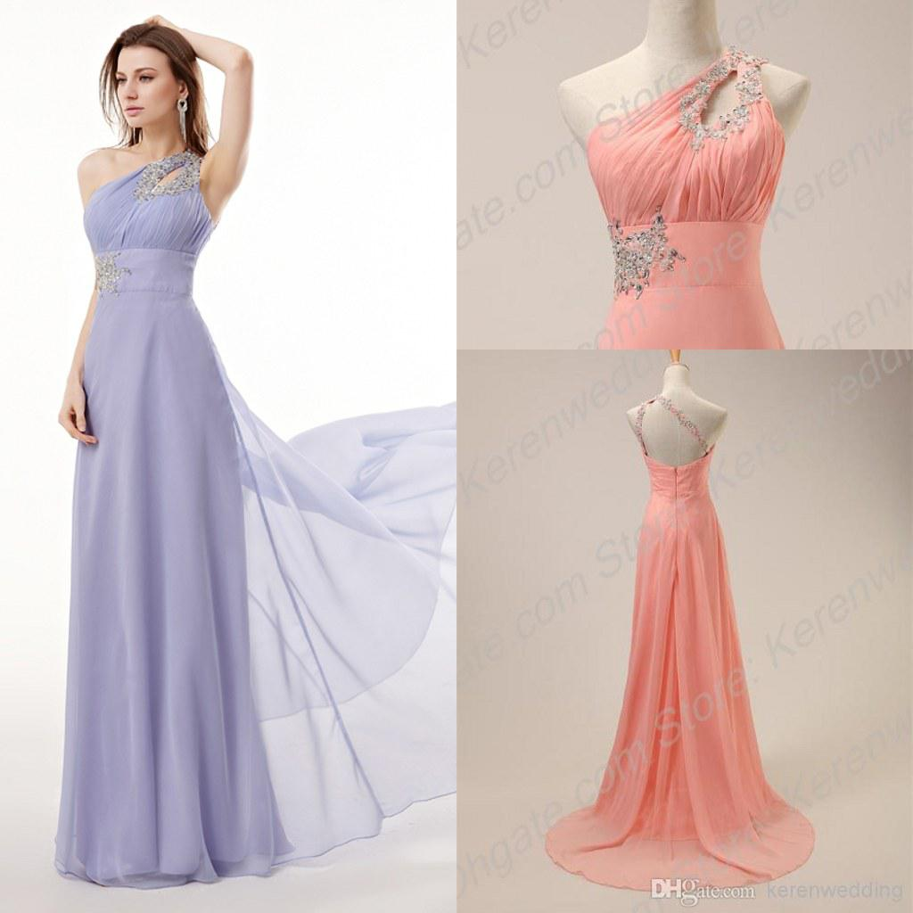 One Shoulder Long Chiffon Prom Dresses 2015 Hot Sale Crystals ...