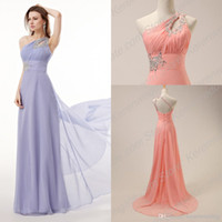 Wholesale Cheapest In Stock Prom Dresses One Shoulder Rhinestone Empire Waist Long Chiffon Corset Formal Gowns Party Dress Us Size