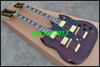 Solid Body 6/12 Mahogany Wholesale - OEM China Guitar, New Arrival 1275 Brown-red Double neck 12 6 String Electric Guitar Free shipping