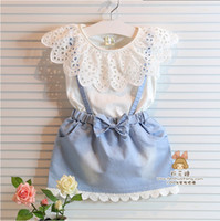 boat t shirts - Girl s One Piece Denim Dresses Children Fashion Hollow Lace Short Sleeve T Shirt Denim Dress Kids Clothes Dresses S0605