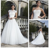 Wholesale 2014 Elegant Sheer High Neck Tulle and Corset Lace Garden Beach Wedding Dresses with Wrap A Line Court Train Sincerity Bridal Gowns