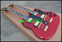 Solid Body 6/12 Mahogany Wholesale - OEM China Guitar, New Arrival 1275 red Double neck 12 6 String Electric Guitar Free shipping