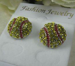 2014 10pcs New fashion Sport Softball Crystal Rhinestone Stud Fashion Earrings