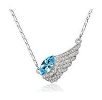 Pendant Necklaces platinum - Angle Wing Austria Crystal Pendant Necklaces Platinum Plated Jewelry Mix Colors