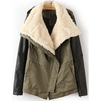 Wholesale winter warm women coat turn down fur collar leather sleeve womens trench coat casual overcoat