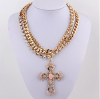 bling jewelry - Fashion luxury cross pendants necklaces bling bling diamond drill gem choker collar necklace multilayer gold Collarbone chain charm jewelry