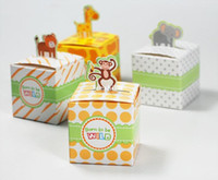 Wholesale 50pcs Giraffe elephant monkey tiger animals Baby Shower favors Birthday Party Boxes Gift Boxes and wedding box