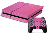 ps4 Protective Case Leather Carbon Fibre Decal Skin Stickers Wrap For PS4 Play Station 4 Console+ Controllers-Silver
