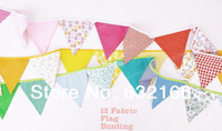 Wholesale colorful handmade fabric flags bunting party decoration party supplies events home decor home decoration