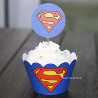 baby shower cake topper - Superman cartoon paper cupcake wrappers baby shower boy decorations for kids birthday pary cake cup picks toppers