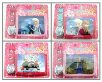 Wholesale Elsa anna princess Sets Watch and Wallet Purse Kids Fashion Quartz Cartoon Candy Cute Lovely Boy Girl Woman Lady Children Watch