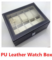 Wholesale boxes of watches Fashion high end PU Leather Watch display Boxes storage box watch Case