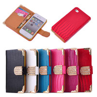 Wholesale For iphone S S Case Luxury Bling Diamond Buckle Lizard Leather Flip Wallet Cover Pouch Credit Card Holder For iphone5