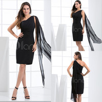 Wholesale One shoulder Backless Short Chiffon Black Cocktail dresses Ruffles Sheath Cheap Hot sale Sexy Girls Prom gowns Custom made