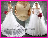 Wholesale 2014 New Arrival White Lace Off The Shoulder A Line Bridal Wedding Dress Gowns Vestido De Renda W2893