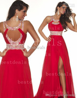 2014 Red A line chiffon bridesmaid dresses 2015 halter cryst...