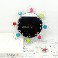 Wholesale K16 MAKEUP MIRROR WITH PAINTED FLOWERS GIRL LADY STAINLESS HAND MADE ART CRAFTS WEDDING amp BIRTHDAY amp HOME amp OFFICE amp GIFT amp PRESENT