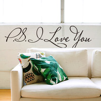 Wholesale PS I Love You PVC Wall Quotes Stickers Sayings Home Decor Living Room Decorative Wall Decals Wall Art