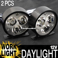 Spotlight LED 3W FREE SHIPPING!!! 2pcs 12V 24V Black Round Flood 3-LEDs LED Off Road Work Light Lamp For Car Truck 4WD 4X4 Black Daytime Running Lights