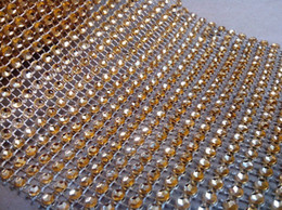 Wholesale -4.5inch 10 Yards 24 Rows Gold Wedding Decoration Diamond Mesh Roll Gold Rhinestone Ribbon