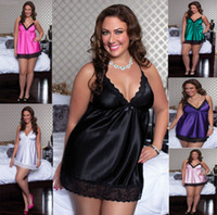 Woman plus size lingerie - 4XL Plus Size Sexy Lingerie Satin Sleepwear Silk Detail Robe and G String Sexy Underwear Nightdress