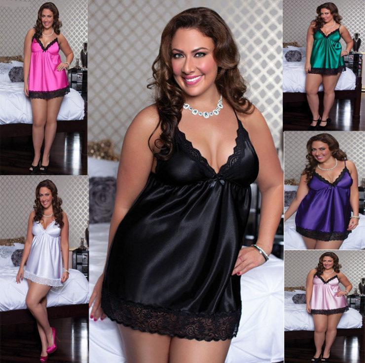 product xl plus size sexy lingerie satin sleepwear