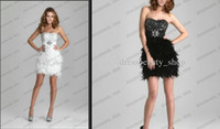 Wholesale New Arrival Bling Sequins Bustier Short Little White Black Feathers Prom Beach Wedding Party Evening Prom Cocktail Dresses Hot Sale