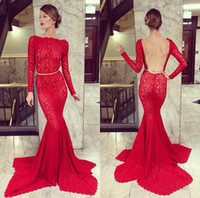 Reference Images Jewel/Bateau Lace Sexy Red 2014 Charming Red Mermaid Long Sleeves Lace Sashes Evening Dresses Elie Saab Backless Court Train Prom Formal Gowns BG19-7