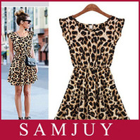Round european fashion dress - European style brand fashion Leopard slim pinched waist Dress Spring summer fall women lady wear free Drop shipping