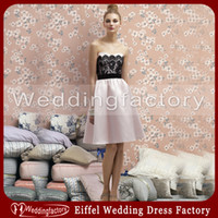 bridesmaid dress black and pink - Simple Bridesmaid Dress Black and Pink A Line Sweetheart Lace Satin Knee Length Cocktail Party Gowns
