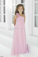 Reference Images Girl Hand Made Flower One Shoulder Chiffon Flower Girl Dresses 2014 New Children Kids Wedding Bridesmaids Gown Little Girls Pageant Dress Sweep Train 2013 wyl287