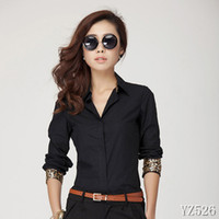 Lapel Neck Flare/Bell Sleeve Long Sleeve 2014 Women OL dark blue chiffon blouse blouses for women dudalina woman clothes YZ526