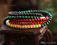 Wholesale Fashion Natural mm Sandalwood Tibetan silver Buddha Root colorful long pause prayer beads bracelet Jewelry DH5965