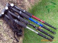 Yuanda Alpenstock Aluminum Aluminum telescopic walking stick   9LED light shock trekking poles   elderly with multifunctional cane