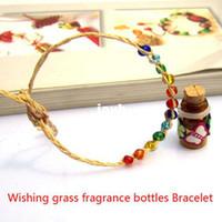 Wholesale ml wishing grass oil bottles bracelet couple vow jewelry bohemian style hot global Love Luck Wishing bottle