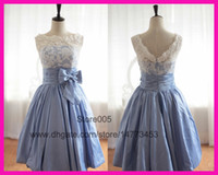 Wholesale 2014 Real Sample Sky Blue Scoop Lace Short V Back Bowknot Homecoming Graduation Party Dresses E5795