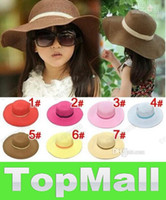 Wholesale JJ602 Child girl beach children sun hat Baby Flower Caps Baby Hat Kids Straw Fedora Hat Children Summer Hat