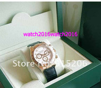Luxury Men's Water Resistant MENS 18K YELLOW GOLD WHITE DIAMOND DIAL LEATHER MODEL #116518 Watches Sapphire Glass mens watches top brand box